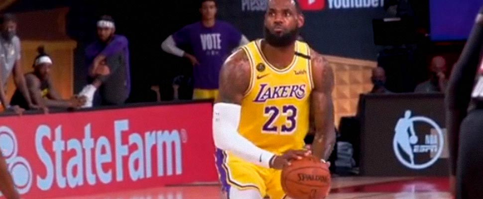 LeBron James in a game with the Lakers