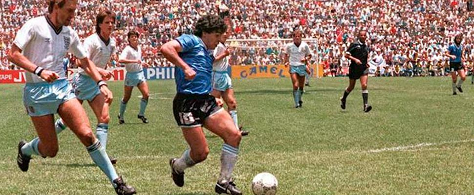 Maradona in a match against England