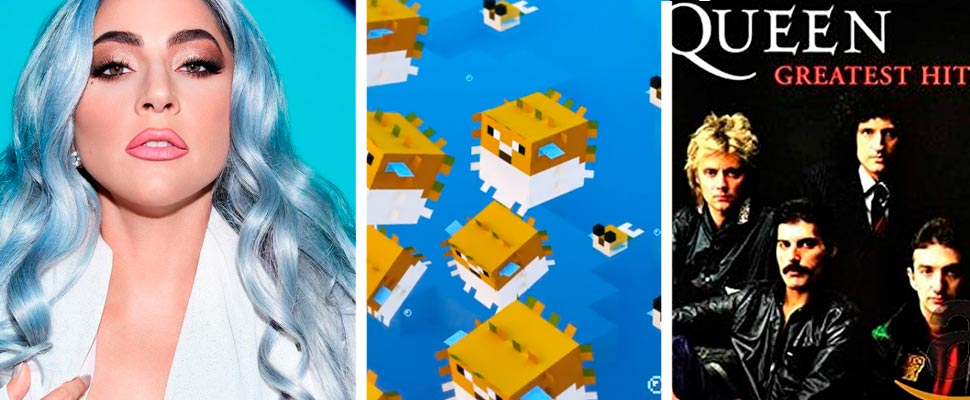 Lady Gaga, Captura del juego 'Minecraft' y Portada del álbum 'Greatest Hits' de Queen