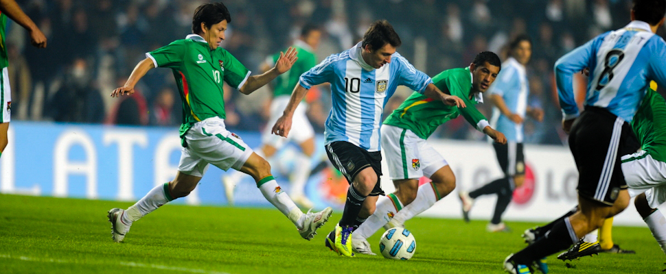 Messi with the ball during the first match of the 2011 Copa América