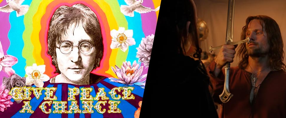 John Lennon mural and frame from the trailer for the series 'The Lord of the Rings'
