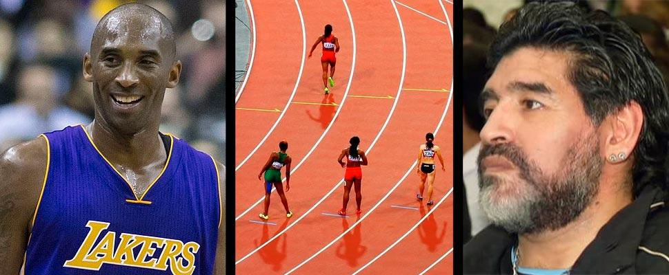 Kobe Bryant, Mujeres en una pista de atletismo y Diego Maradona