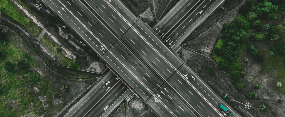 Aerial photograph of a highway