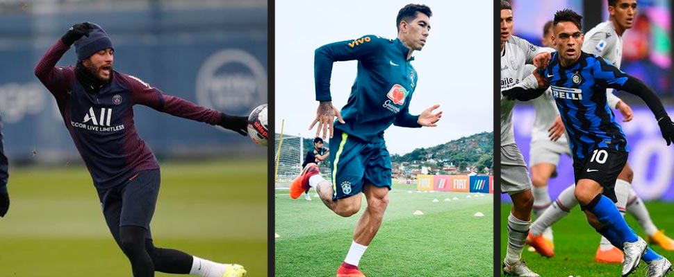 Neymar Jr, Roberto Firmino y Lautaro Martínez