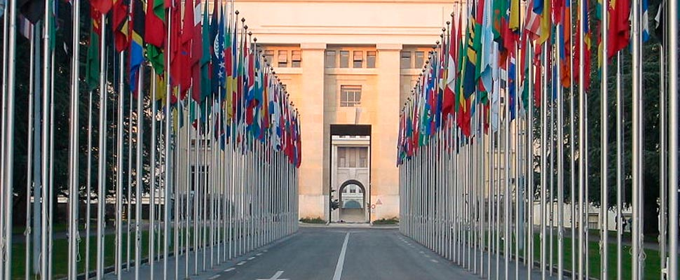 Flags at the UN headquarters in Geneva
