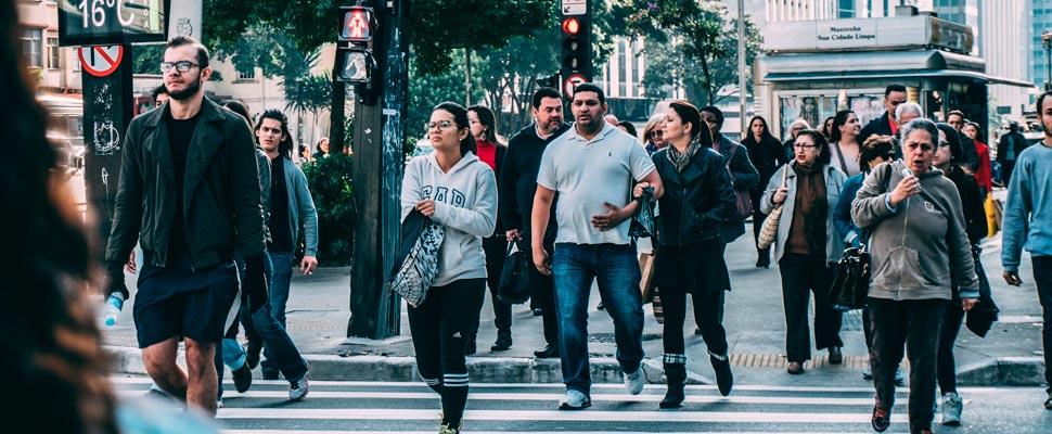 People walking on a street in America