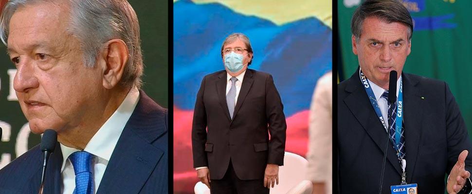 AMLO, Carlos Holmes Trujillo y Jair Bolsonaro