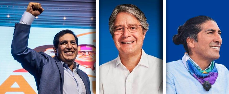 Andrés Arauz, Guillermo Lasso y Yaku Pérez