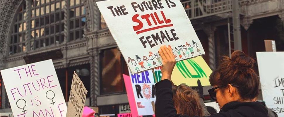 Women in a march
