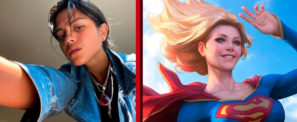 Sasha Calle y caricatura de Supergirl