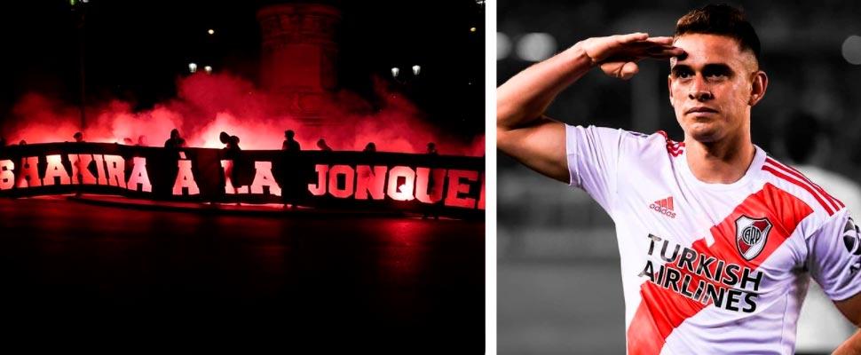 Pancarta en contra de Shakira y Rafael Santos Borré