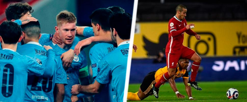 Jugadores del Manchester City y jugadores del Liverpool FC.