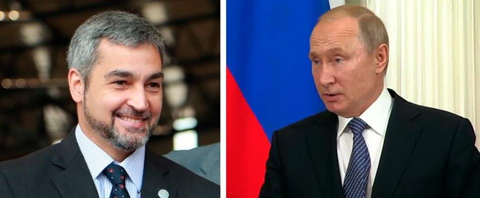 Mario Abdo Benítez and Vladimir Putin.