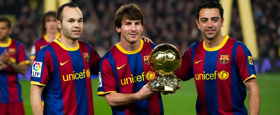 Andrés Iniesta, Lionel Messi and Xavi Hernández