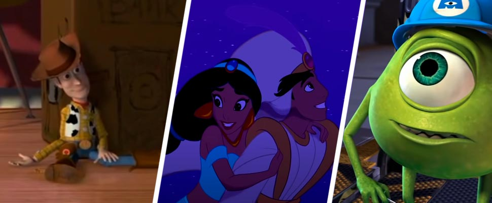 Still from the movies 'Toy Story', 'Aladdin' and 'Monsters Inc.'