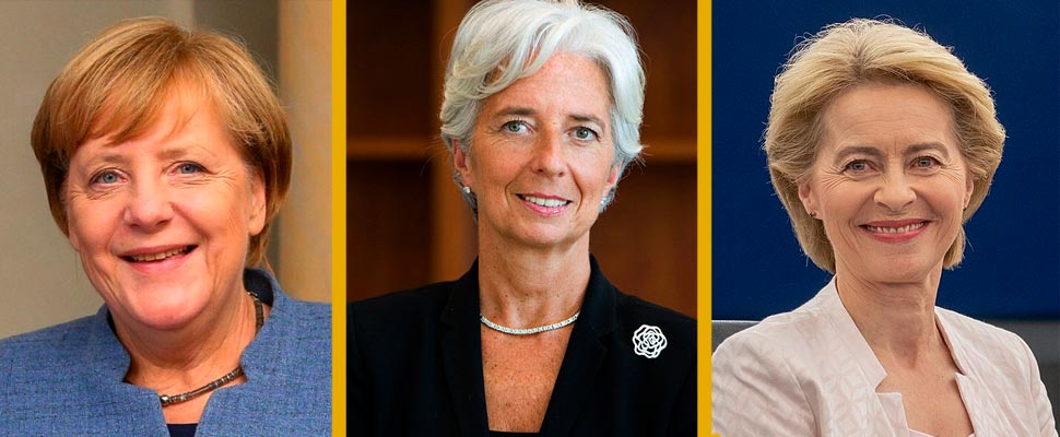Angela Merkel, Christine Lagarde, and Ursula Von der Leyen