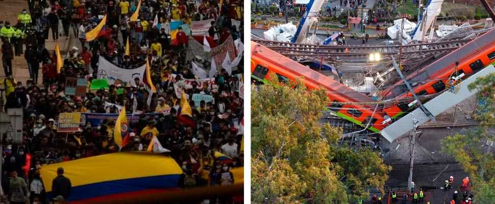 Marches in Colombia and accident in Mexico's metro