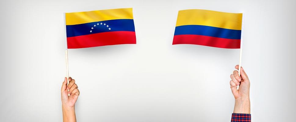 Bandera de Venezuela y Bandera de Colombia