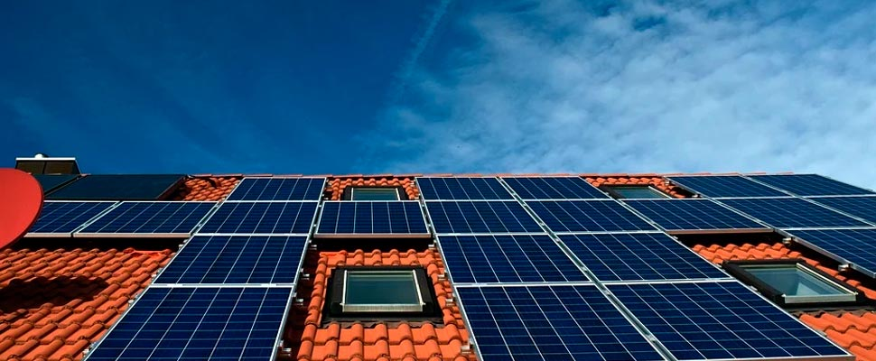 Roof of a house with solar panels