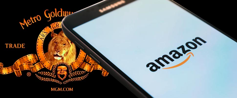 MGM logo and cell phone with the Amazon logo