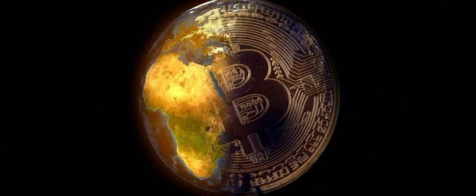 Bitcoin coin superimposed on a photo of the Earth