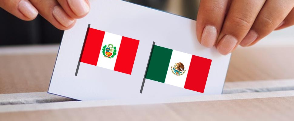 Person casting a vote in a ballot box with the flags of Peru and Mexico