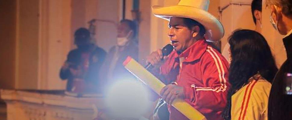 Pedro Castillo during his political campaign