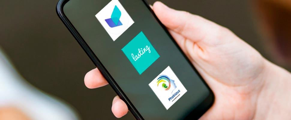 Celular con los logos de las aplicaciones de terapia