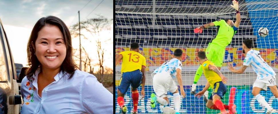 Keiko Fujimori y PArtido de la eliminatoria entre Colombia y Argentina