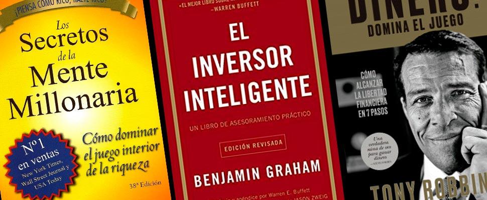 Portada de los libros 'Los secretos de la mente millonaria' 'El inversor inteligente' y 'Dinero: Domina el juego'