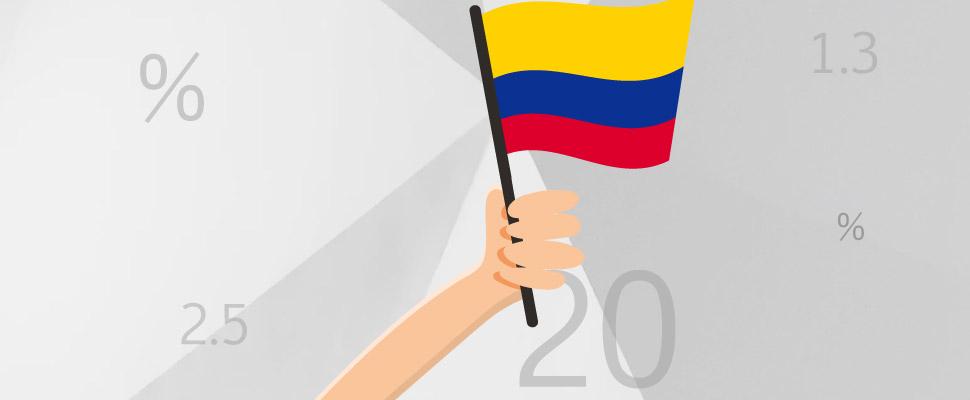 Vector de mano sosteniendo bandera de Colombia