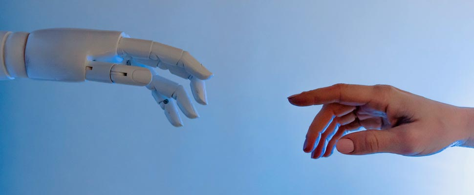 Robot hand and a person hand