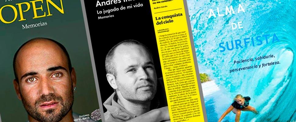 Portadas de los libros de Andre Agassi, Andrés Iniesta, Bethany Hamilton