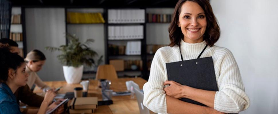 Woman in a business room