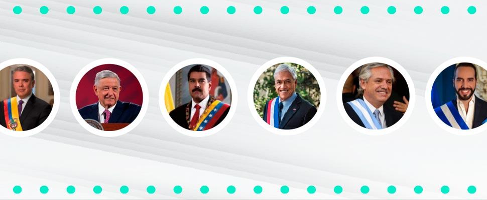 Photos of presidents of Colombia, Mexico, Venezuela, Chile, Argentina and El Salvador