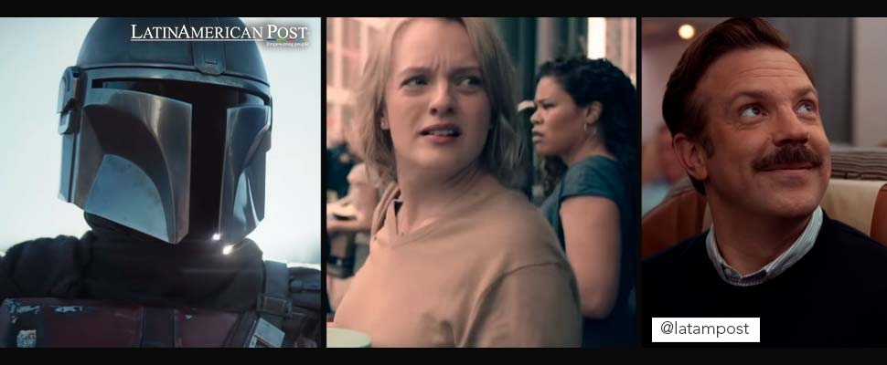 Still from the productions 'The Mandalorian', 'The Handmaids Tale' and 'Ted Lasso'