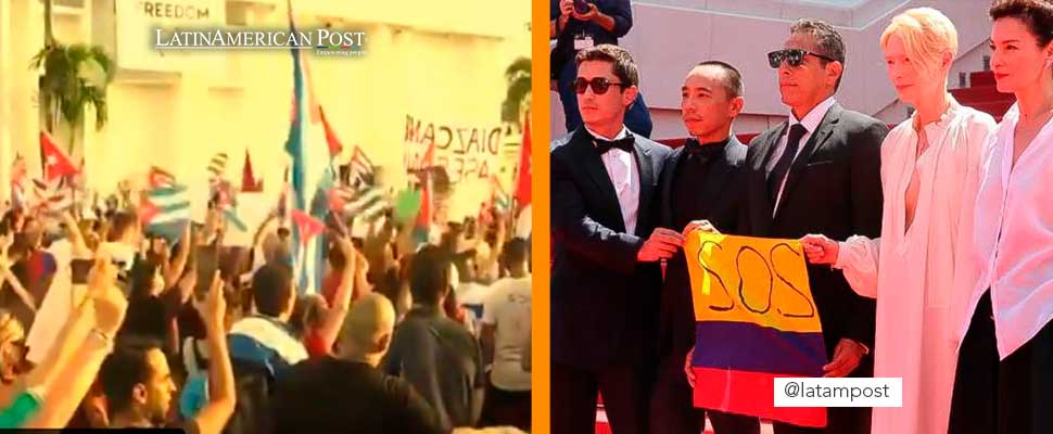 Protests in Cuba and Tilda Swinton with the Colombian flag