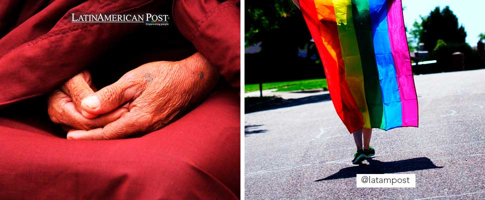 Hands of an elderly person and a person walking with the LGBT flag