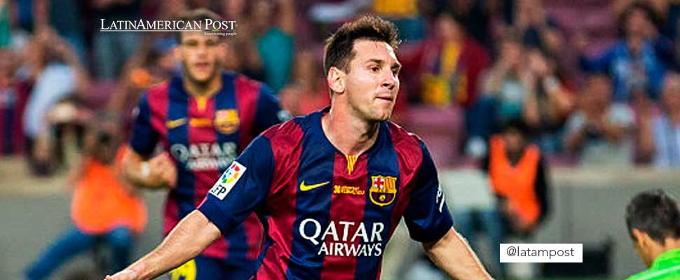 Lionel Messi wearing the FC Barcelona shirt