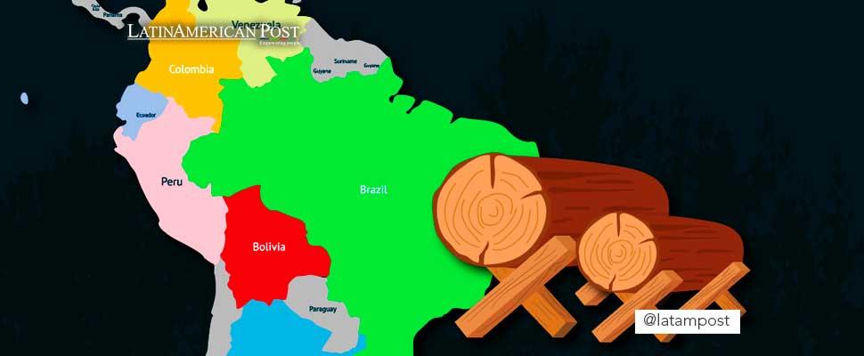 Mapa de Latinoamérica con troncos de madera