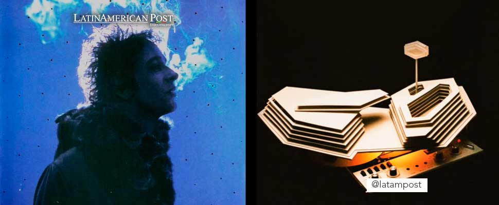 Cover of the album 'Engaña' by Gustavo Cerati and 'Four Out of Five' by Arctic Monkeys