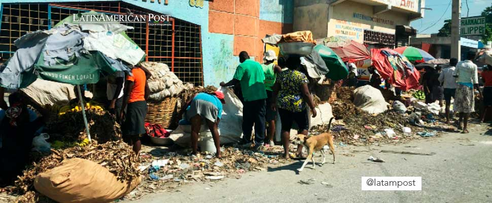People on the side of the street in Haiti