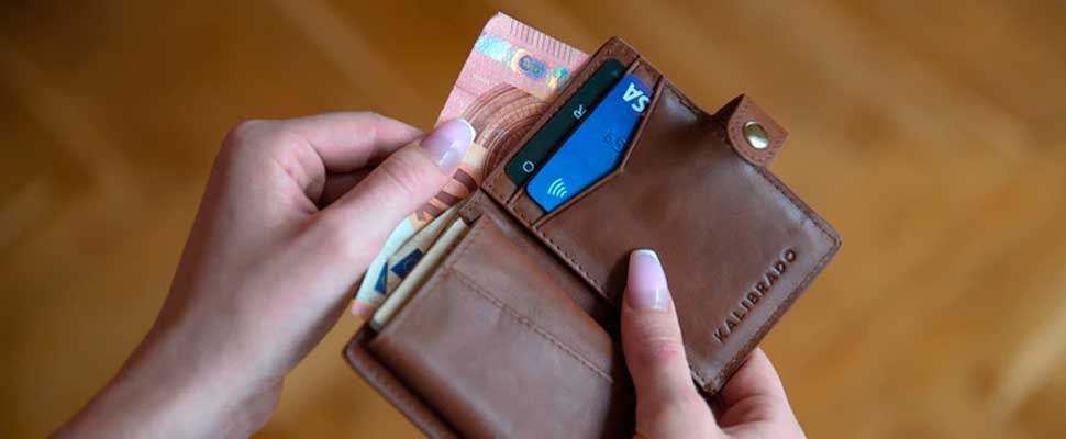 Woman holding a wallet