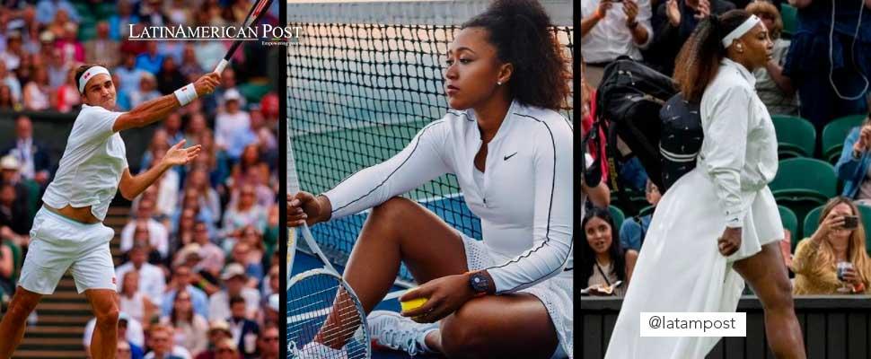 Roger Federer, Naomi Osaka and Serena Williams