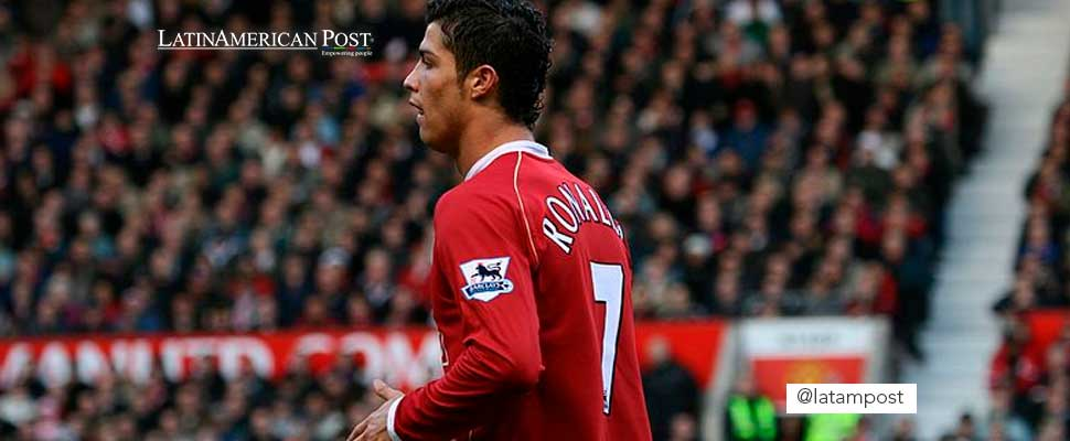 Cristiano Ronaldo wearing the Manchester United jersey