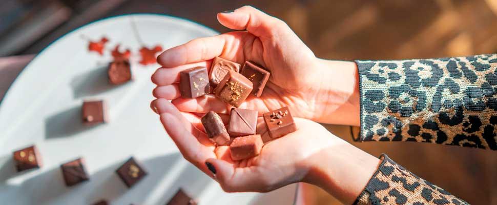 Woman with chocolates