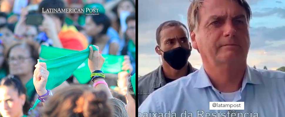 Woman holding a green scarf and Jair Bolsonaro
