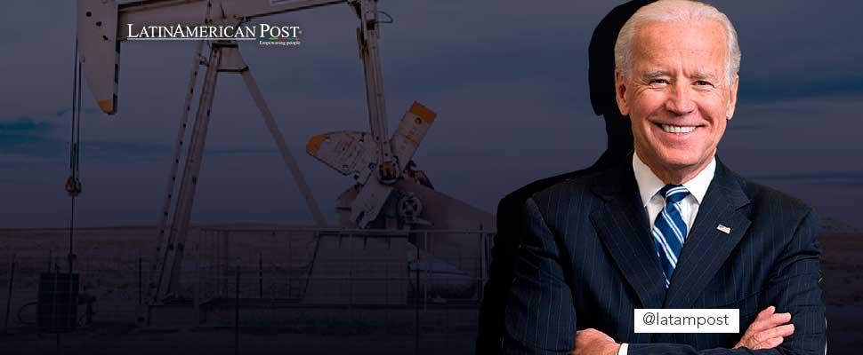 Joe Biden y foto de una extracción petrolera