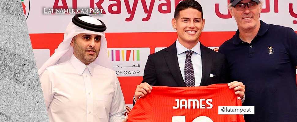 James Rodríguez on his arrival at the Al Rayyan club