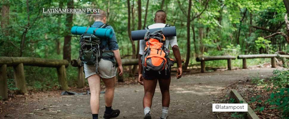 Dos personas caminando por una carretera en medio del bosque